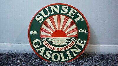 Vintage Sunset Gasoline Porcelain Sign Gas Oil Metal Service Station Pump Plate