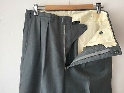 HOLLYWOOD WAIST VINTAGE DEADSTOCK 1940S MEN'S  WOOL PANTS METAL ZIP W32 x 30