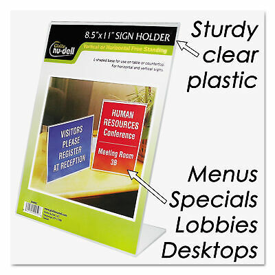 Nu-Dell Clear Plastic Sign Holder, Stand-Up, Slanted, 8 1/2 x 11, EA - NUD35485Z