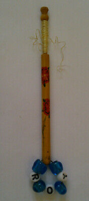 Rose Design Dated/Inscribed Wooden Lace Bobbin with Spangle