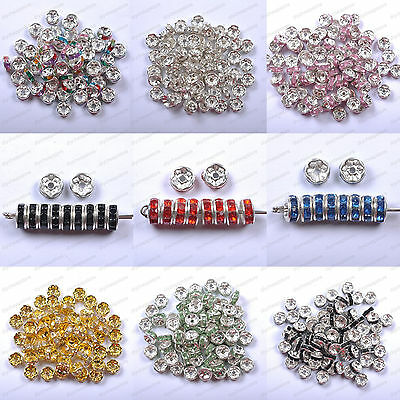 100pcs Czech Crystal Rhinestone Silver Rondelle Spacer Beads Jewelry 6MM 8MM
