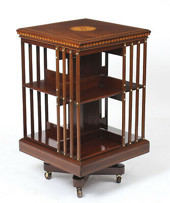 Antique Edwardian Revolving Bookcase By Maple & Co c.1900