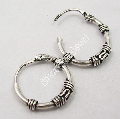 925 Pure Silver OLD STYLE, ANTIQUE LOOK Little BALI Earrings 1.6 CM HANDCRAFTED