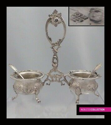 LUXURIOUS ANTIQUE 1890s FRENCH STERLING SILVER SALT CELLARS & SPOONS Rococo St.