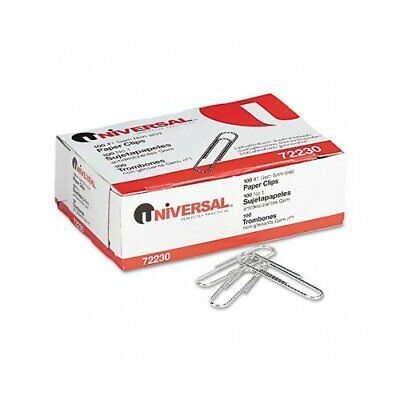 Universal Nonskid Paper Clips, Wire, No. 1, Silver, 100/Box, 10 Boxes/Pack, PK -