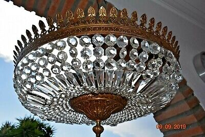 Beautiful Antique Large French  Faceted  Crystal Chandelier