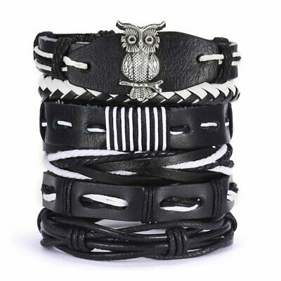 6pcs Fashion Mens Punk Leather Owl Wrap Braided Wristband Cuff Bangle Bracelets