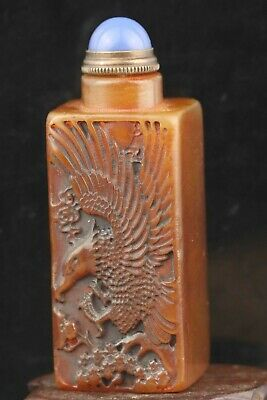 Chinese old natural shoushan jade hand-carved statue eagle seal snuff bottle