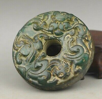 Chinese old natural jade hand-carved statue dragon pendant 2.2 inch