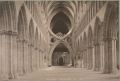 Angleterre, Wells Cathedral, Nave looking East Vintage print.  Photomécanique