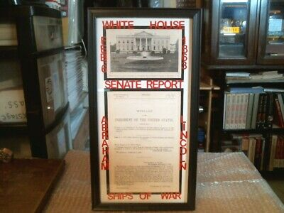 Abraham Lincoln Civil War Original Senate Report And White House Print - 1863