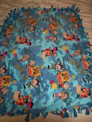Colorful Captain Hook Pirate Treasure Hand Tied Double Sided Fleece Blanket~New