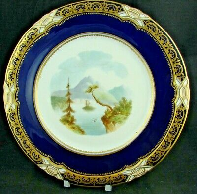 19th/20thC Antique Minton Porcelain Topographical 23.5cm Plate - Ballynahinch