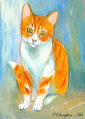 Cat Original ACEO Watercolor Acrylic Painting Kitten Miniature Seraphin-Art