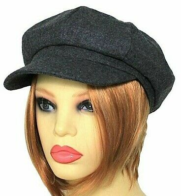 Ladies Womens Baker Boy Newsboy Cap Hat Light Wool Blend Dark Grey