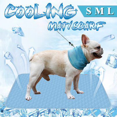 S/M/L Pet Dog Cat Mat Cooling Pet Bed & Chilly Bandana Neck Scarf Summer Cool
