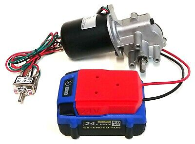 Makermotor 24v DC Gearmotor with Reverse Switch and Power Tool Battery Adapter