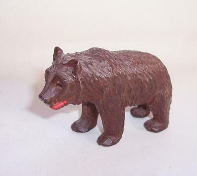 Vintage Carved BLACK FOREST Wooden BEAR FIGURE Animal Ornament Glass Eyes