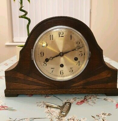 German Westminster Chimes Vintage Mantel Clock With Key (Fully Working)