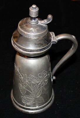 Antique Signed Derby Silver Co. Quadruple Plate Syrup Server Pat. May 24, 81