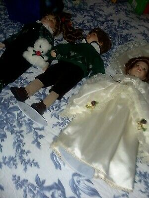 "Bavarian Dolls 11 1/2"" German Heidi and Peter Porcelain Face Hands Legs with sta"