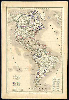 Antique map-HISTORICAL-AMERICA-NORTH-SOUTH-CENTRAL-Drioux-Leroy-1854