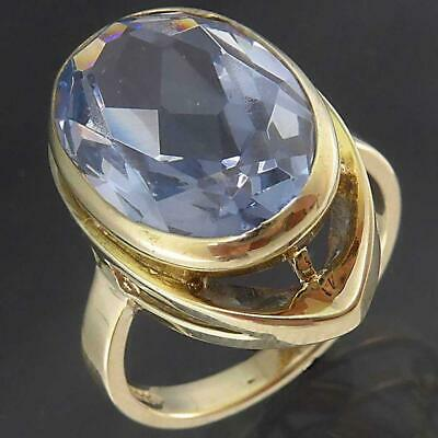 German made Solid 8k Yellow GOLD OVAL SKY BLUE SPINEL COCKTAIL RING Sz L1/2