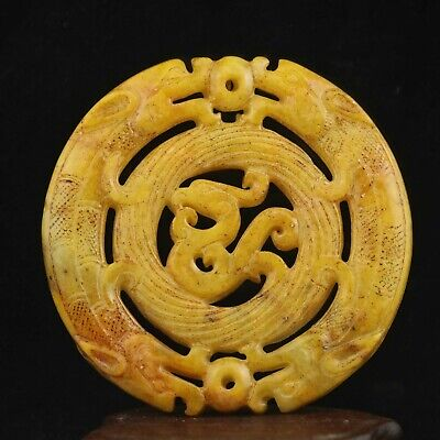 Chinese old natural jade hand-carved statue dragon phenix pendant 2.8 inch