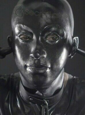 Black Latex Mask Thick Heavy Rubber Hood Feminine Gimp Fetish Zip Bondage Kink