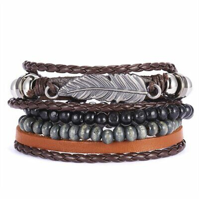 4pcs Fashion Mens Punk Leather Leaf Wrap Braided Wristband Cuff Bangle Bracelet