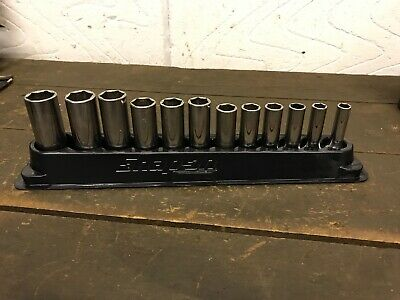 "Snap On 12 Piece Metric Deep Socket Set In 3/8"" Drive 8mm To 19mm With Mag Base"