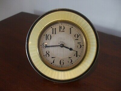 ART DECO Period 8-Day Travel Clock Sterling Silver & Yellow Guilloche ENAMEL