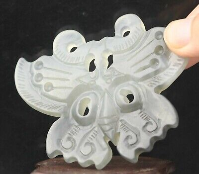 Chinese old natural jade hand-carved statue butterfly pendant 3 inch