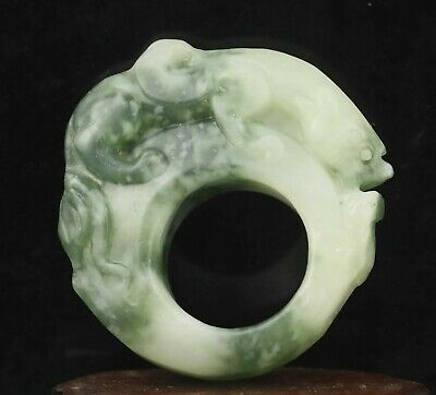 Chinese old natural jade hand-carved dragon ring pendant 2.1 inch