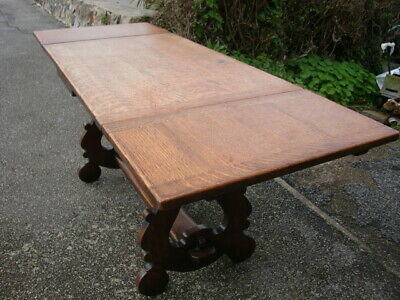 Lovely strong extending yellow oak refectory table.
