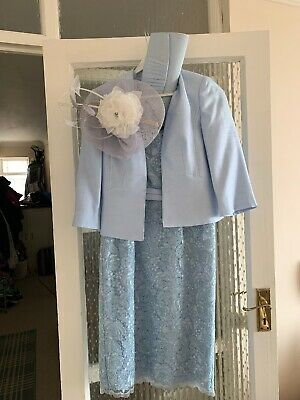 Jacques Vert Mother Of The Bride 2 Piece Dress Suit With Bag And Fascinator 8-10