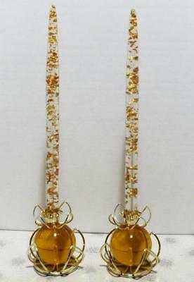 2 Metallic Flake Lucite Candles Vintage CandleHolders Gold Amber Mid-Century Lg
