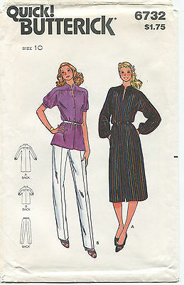 Butterick 6732  Misses Vintage Dress Top Pants Sewing Pattern ~ Sz 10 ~ Uncut