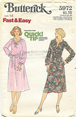 Butterick 5972 Misses Vintage Dress Top Skirt Sewing Pattern ~ Size 12 ~ Uncut