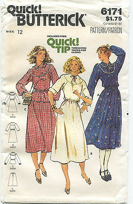 Butterick 6171 Misses Vintage Dress Top Skirt Sewing Pattern Size 12 Uncut