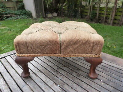Lovely Antique Vintage Upholstered Footstool On Queen Anne Legs.