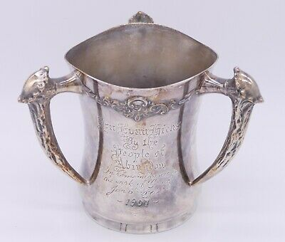 Antique 1907 Middletown Silver Plate Loving Cup Trophy Antler Style Handles RARE