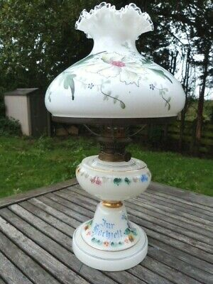 Beautiful Antique Hand Painted White Glass Oil Lamp By Kosmos Brenner.
