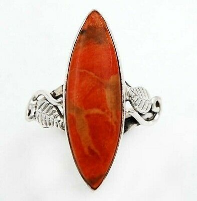 Wonderful Art Italian Coral 925 Solid Sterling Silver Ring Jewelry Sz 8.5 C21-2