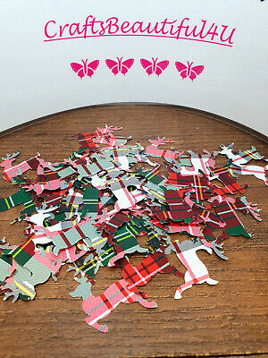60no Tartan Red, Green, White Reindeer Table Confetti/Scatters Xmas Decorations