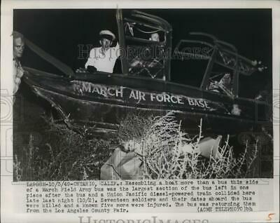 1949 Press Photo Wreckage of March Air Force bus after it collided with a train