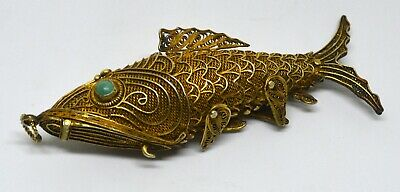 Antique Chinese Sterling Silver Gold Plated Koi Fish Filigree Turquoise Pendant