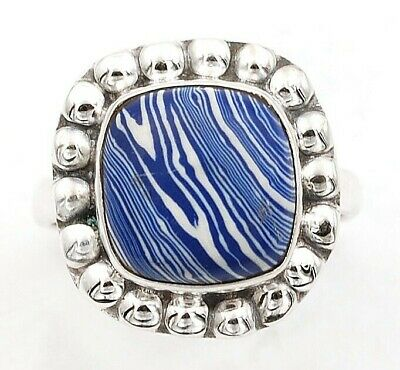 Wonderful Art Natural Azurite 925 Solid Sterling Silver Ring Jewelry Sz 8, C27-4