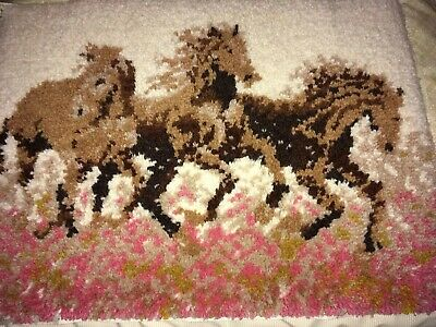 Completed Latch Hook Rug Horses 100% Wool