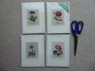 4 New Cash's Woven flower Greeting Cards, Unused
